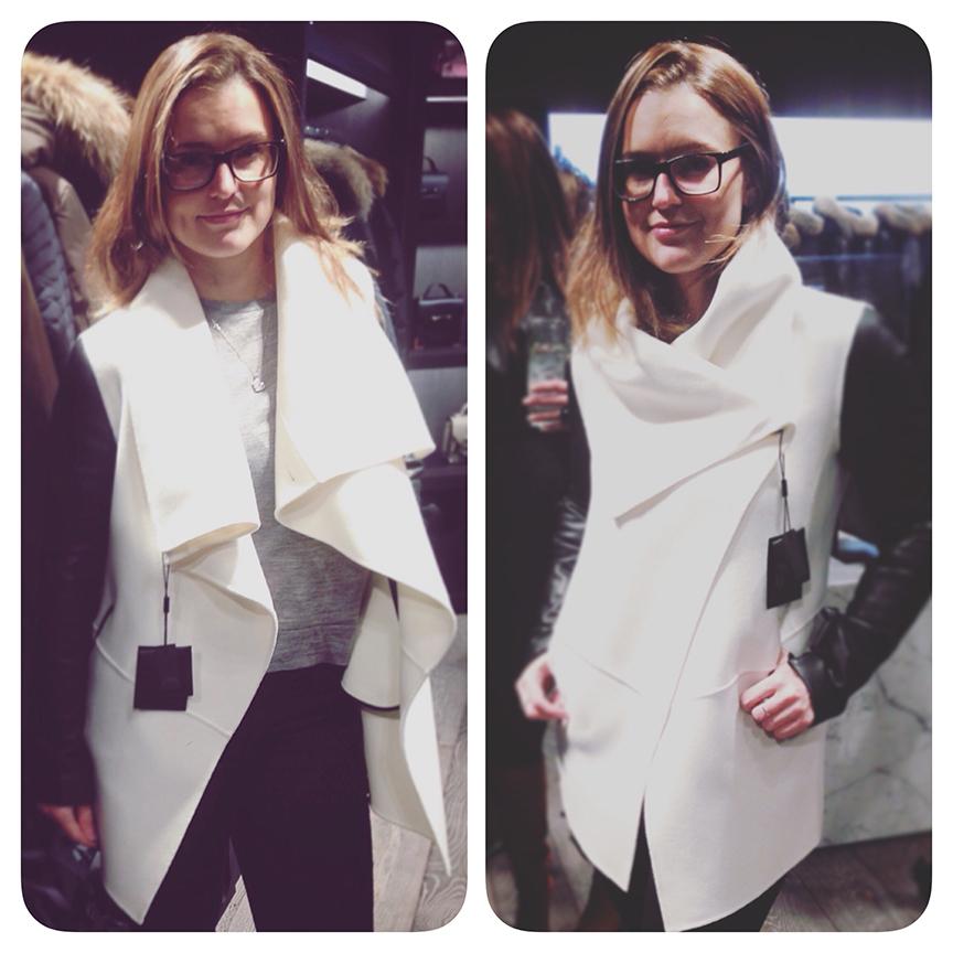 51800a3f623 Black Leather   Cream Wool. manteau mackage blanc   noir